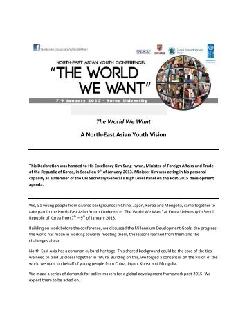 The World We Want A North-East Asian Youth Vision - NGLS