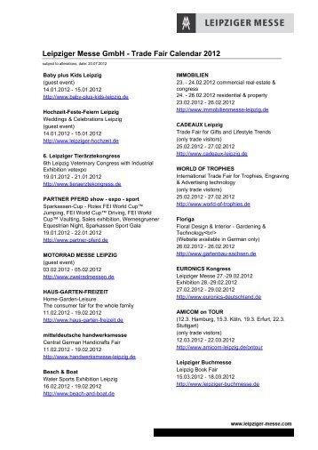 Leipziger Messe GmbH -  Trade Fair Calendar 2012