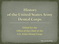 U.S. Army Dental Corps History Brief - Office of Medical History