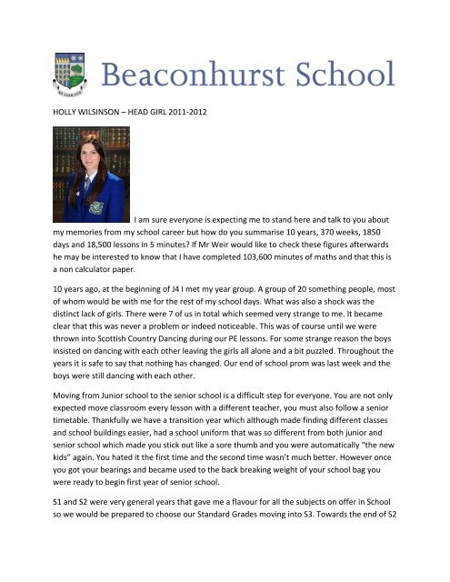 Holly Wilkinson Head Girl 2011-2012 Prizegiving Speech