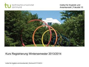 Kurs Registrierung Wintersemester 2013/2014 - Iaawiki - TU Dortmund