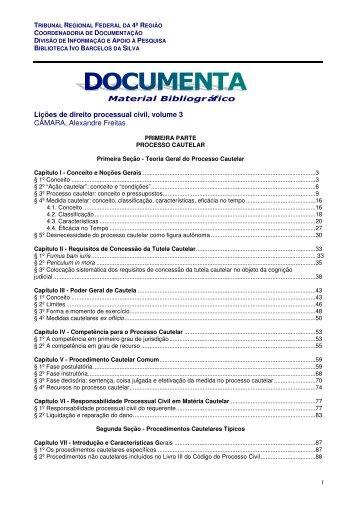 Material Bibliográfico Lições de direito processual civil, volume 3 ...