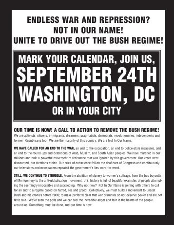 mark your calendar, join us, or in your city - War Is A Crime .org