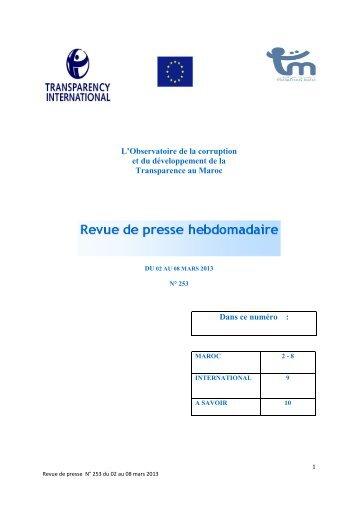 Revue de presse n° 253 du 02 au 08 mars 2013 - Transparency