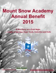 Mount Snow Academy Annual Benefit 2015