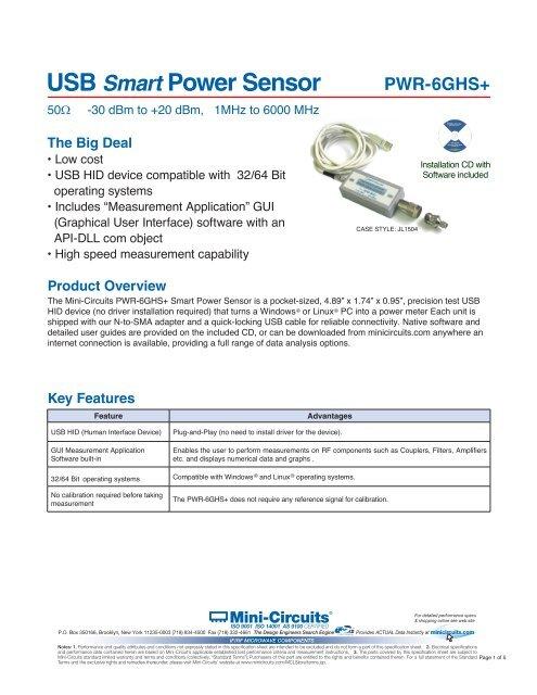 PWR-6GHS+ USB Smart Power Sensor