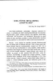 XVIII. YÜZYıL ORTALARıNDA ANTEP'TE AİLE - Ankara Üniversitesi ...