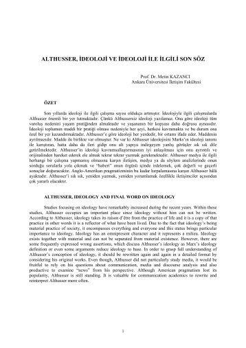 İDEOLOJİ İLE İLGİLİ SON SÖZ - Ankara Üniversitesi İletişim Fakültesi