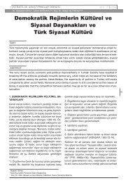 Demokratik Rejimlerin Kültürel ve Siyasal Dayanakları ve Türk ...