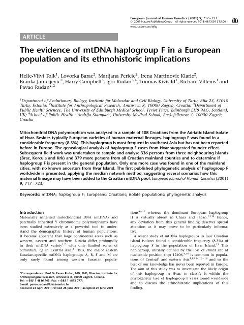 The Evidence of mtDNA Haplogroup F in a European Population
