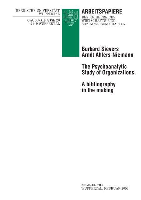 Molinari Leren Bank.Arbeitspapiere Prof Dr Burkard Sievers Bergische Universitat