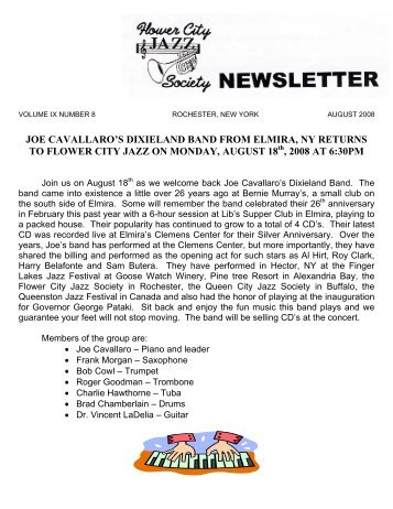 JOE CAVALLARO'S DIXIELAND BAND FROM ELMIRA, NY ...