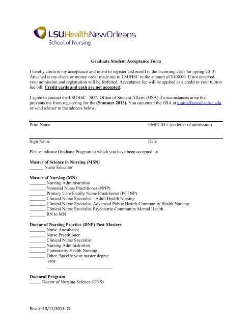 Acceptance Form - LSUHSC School of Nursing