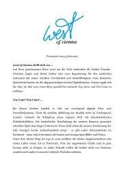 einen Pressetext zur Geschichte von west of vienna