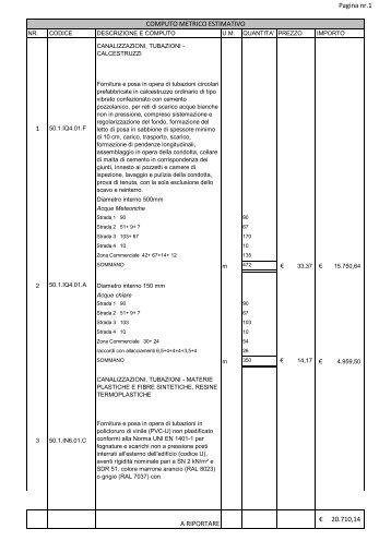 Pagina nr.1 1 A RIPORTARE 20.710,14 € COMPUTO ... - Audine.net