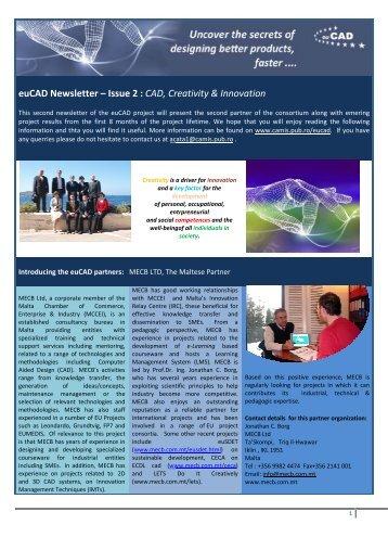 euCA AD New sletter – – Issue 2 : CAD, Cr reativity & Innova ation
