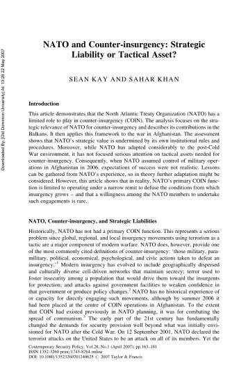 NATO and Counter-insurgency: Strategic Liability or Tactical Asset?