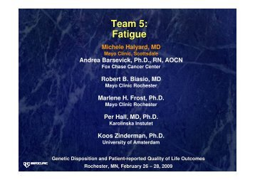 Team 5: Fatigue - GeneQol Consortium