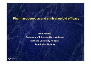 Pharmacogenetics and clinical opioid efficacy - GeneQol Consortium