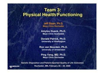 Team 3: Physical Health/Functioning - GeneQol Consortium