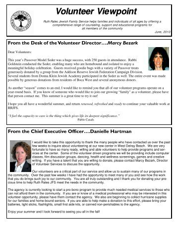 Volunteer Viewpoint - Ruth Rales Jewish Family Service