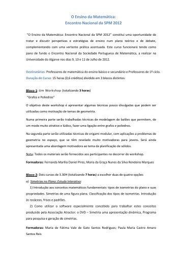 O Ensino da Matemática - Encontro Nacional da SPM - Sociedade ...