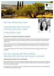Information Leaflet - New Year Retreat 2013 in Israel - Thomas Hübl