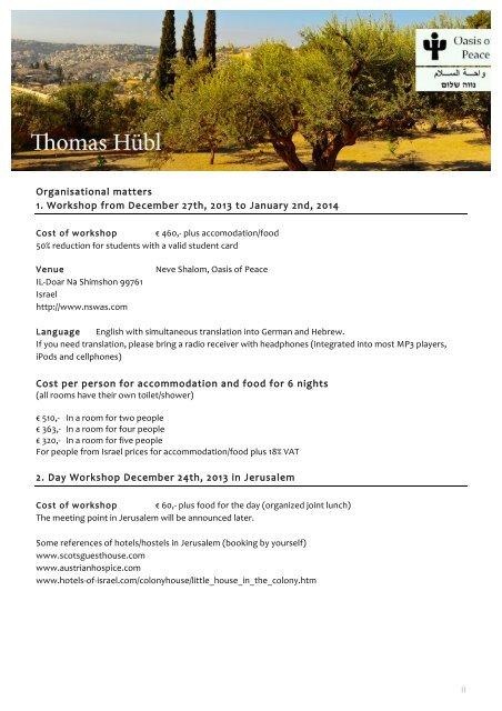 Information Leaflet - New Year Retreat 2013 in Israel - Thomas Hübl