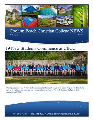 Coolum Beach Christian College NEWS 19 New Students ...