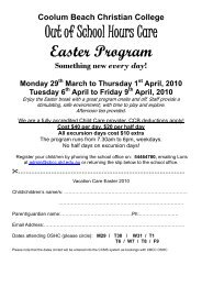 Out of School Hours Care Easter Program - Coolum Beach Christian ...