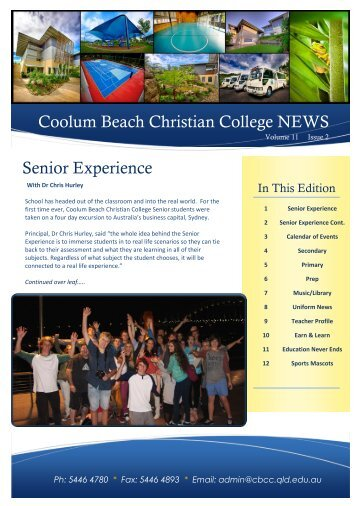 Newsletter March 2013 - Coolum Beach Christian College
