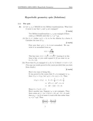 Hyperbolic geometry quiz (Solutions)