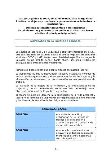 - 1 - La Ley Orgánica 3/2007, de 22 de marzo, para la ... - CCOO
