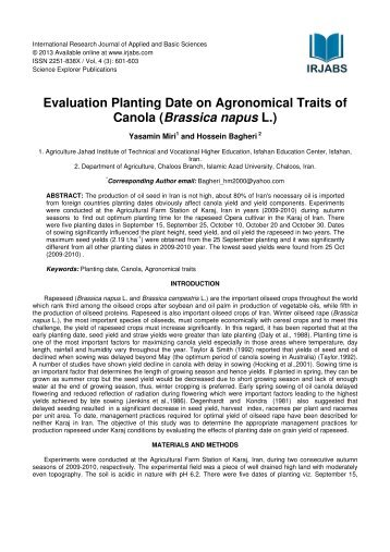 Evaluation Planting Date on Agronomical Traits of Canola (Brassica ...