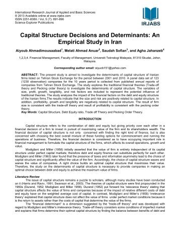 Capital Structure Decisions and Determinants - International ...