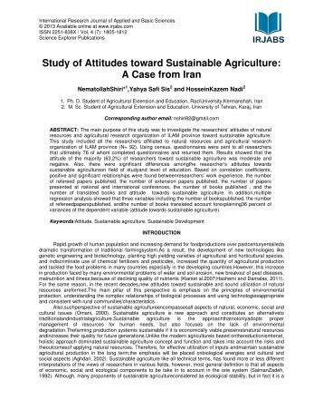 attitude of students towards studying agricultural Downloadable in 2002 and 2007 we surveyed agribusiness students' attitudes about agriculture, farming, food and agricultural policies responses were analyzed by.