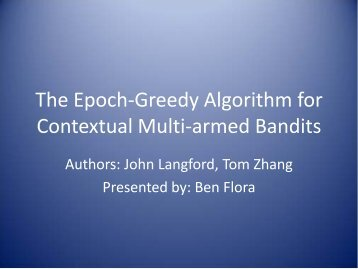 The Epoch-Greedy Algorithm for Contextual Multi-armed Bandits