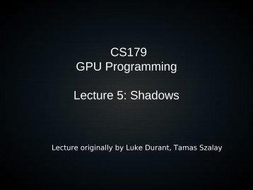 Spaces, shadows, and debugging - Caltech