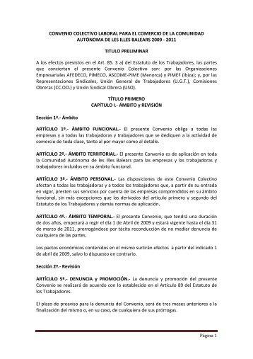 CONVENIO COLECTIVO LABORAL PARA EL COMERCIO DE LA ...