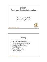 CS137: Electronic Design Automation Today - Caltech