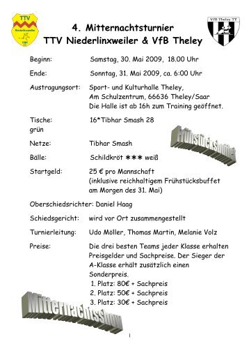 Ausschreibung Mitternachtsturnier2009 - beim TTV Niederlinxweiler ...