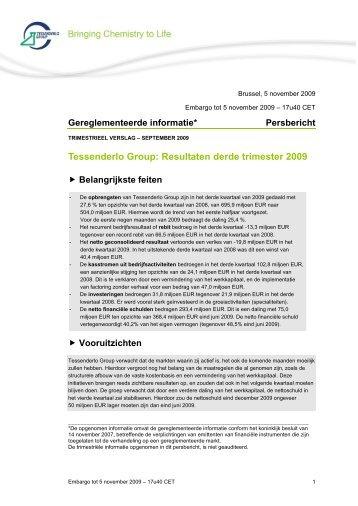 Resultaten derde trimester - Tessenderlo Group