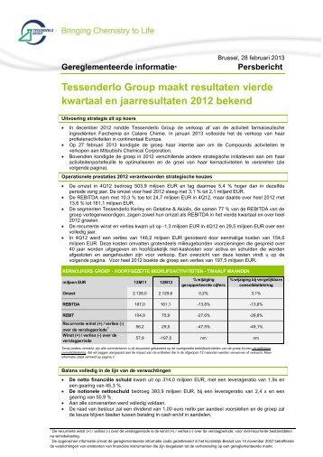 resultaten vierde kwartaal en jaarresultaten 2012 - Tessenderlo Group