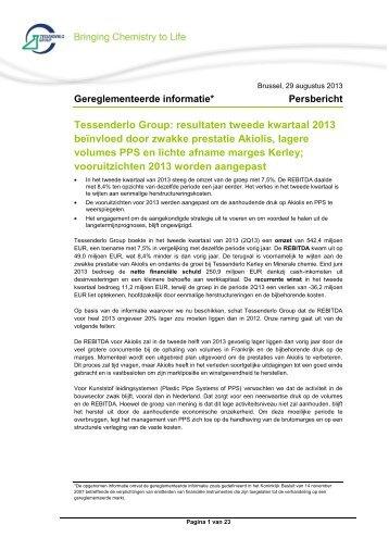 resultaten tweede kwartaal 2013 - Tessenderlo Group