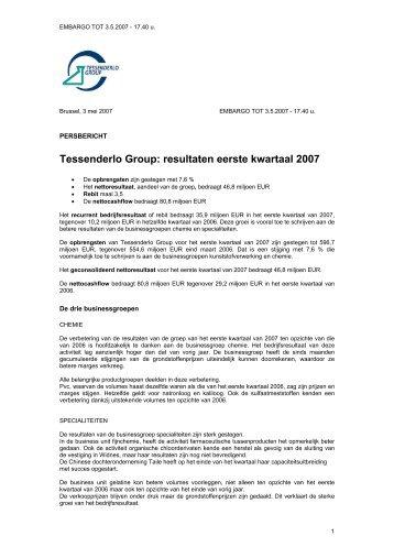 Tessenderlo Group: resultaten eerste kwartaal 2007
