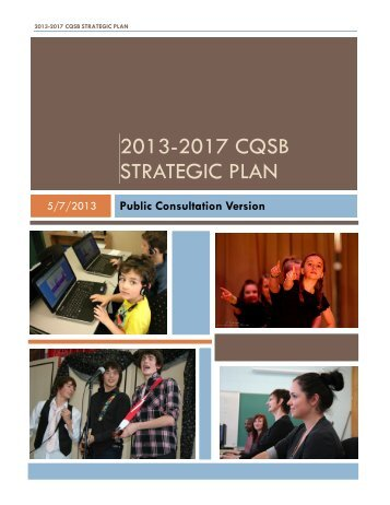 2013-2017 CQSB STRATEGIC PLAN