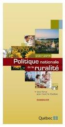Sommaire de la Politique nationale de la ruralité - Affaires ...
