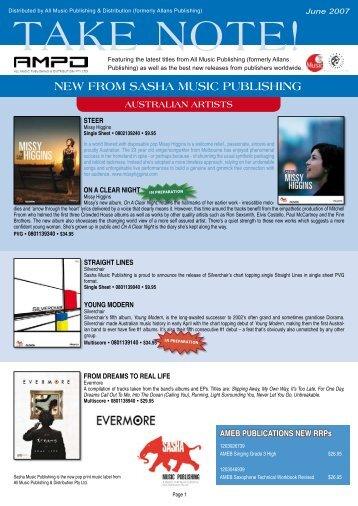 NEW FROM SASHA MUSIC PUBLISHING - AMPD