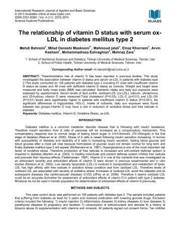 The relationship of vitamin D status with serum ox - International ...