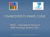 Financements Marie Curie IRSES - Université Lille Nord de France